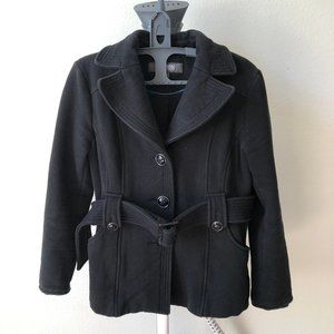 KENNETH COLE Reaction Black Button Up Pea Coat - S